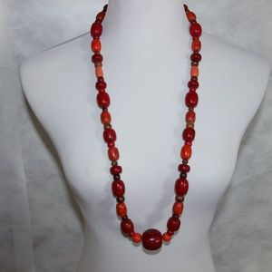 Jewelry - Large red brown and orange beads necklace